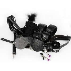 SM皮革(不含毛绒)捆绑套装 黑色十件套 调教美女